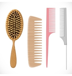 Hair combs set isolated on a white background vector image vector image