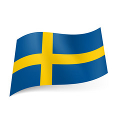 national flag of sweden yellow cross on blue vector image vector image