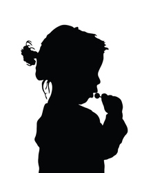 child with lollipop sweet art silhouette vector image vector image