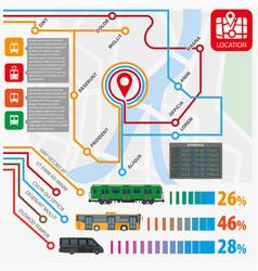 public transport routes stations statistics vector image