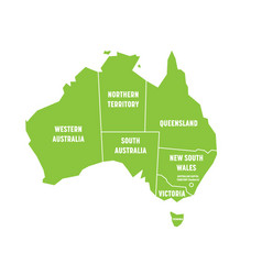simplified map of australia divided into states vector image