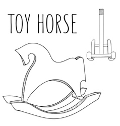 Cute black and white or coloring book horse toy vector image