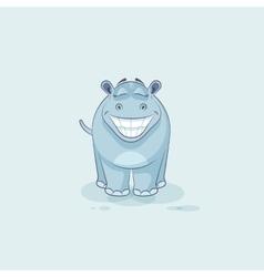 Emoji character cartoon hippopotamus with a huge vector