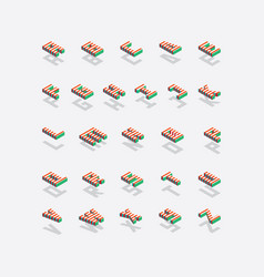 full english isometric alphabet with bright red vector image vector image