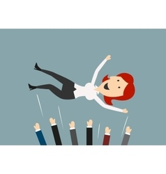 Happy businesswoman flying in the air vector image vector image