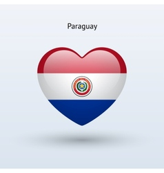 Love Paraguay symbol Heart flag icon vector image