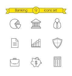 Banking and finance linear icons set vector image vector image