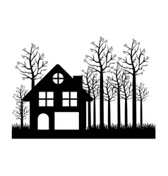 black silhouette of cottage in the forest in white vector image
