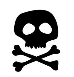 black silhouette of skull isolated on white vector image