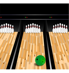 Bowling ball and skittle on wooden floor vector image