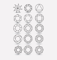 collection of monochrome abstract circular symbols vector image vector image