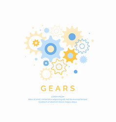 colored gears on a light background vector image