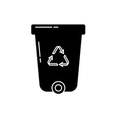 recycle bin silhouette icon in flat style vector image vector image