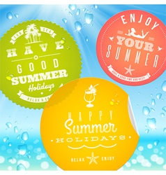 Stickers with summer vacation and travel emblems vector