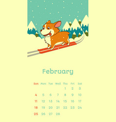 2018 february calendar with welsh corgi dog vector image