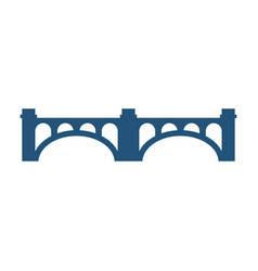 Arched bridge with columns silhouette vector