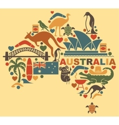 Australian icons in the form of a map vector