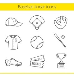 Baseball linear icons set vector image