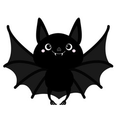 Bat flying cute cartoon baby character with big vector
