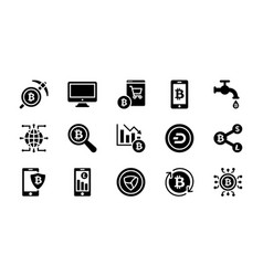 Bitcoin and cryptocurrency glyph icons collection vector