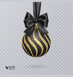 black christmas ball decorated with a realistic vector image