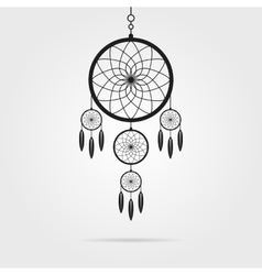 Black dream catcher icon with shadow vector