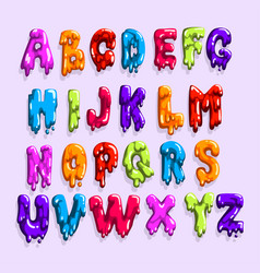 bright-colored latin alphabet made of sweet jelly vector image