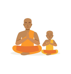 buddhist father and his little son meditating in vector image