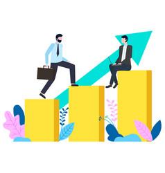 businessman walking up growing infochart vector image