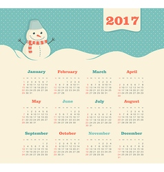 Calendar 2017 with snowman Week Starts Sunday vector image