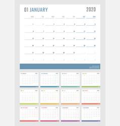 Calendar for 2020 starts monday calendar vector