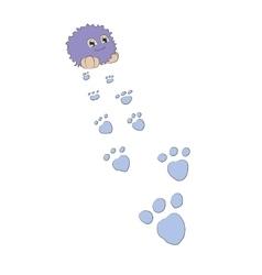 Cartoon monster footprints behind him vector