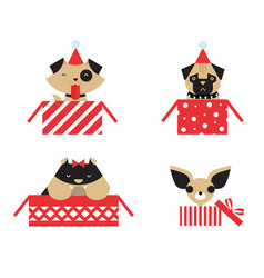 Christmas dogs vector