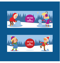 christmas kids playing winter games skating vector image