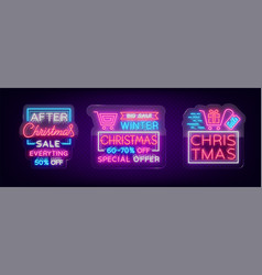 Christmas sales collection neon signs signs vector