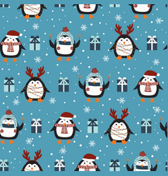 christmas seamless pattern with penguin vector image