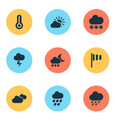 Climate icons set with sunset snowy nightly and vector