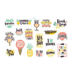 collection of bright colored summer lettering vector image