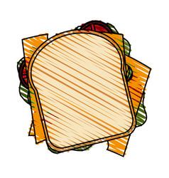 color crayon stripe cartoon top view closeup bread vector image