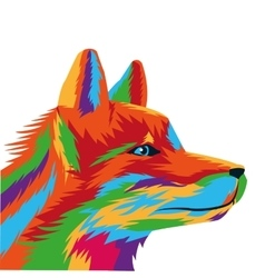Colorful wolf drawing icon vector