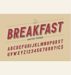 Condensed retro display font design alphabet vector