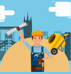Construction people workers vector
