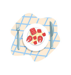 cooked fish on a plate on a vector image