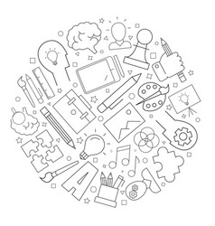 Creativity background from line icon vector