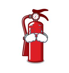 Crying fire extinguisher mascot cartoon vector