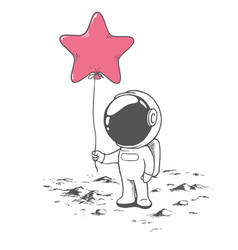 Cute astronaut keeps a balloon like star vector