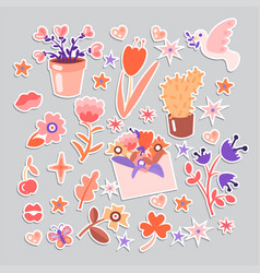 cute cartoon flower collection sticker style vector image