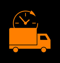 delivery sign orange icon on black vector image