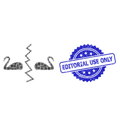 Distress editorial use only stamp and square dot vector