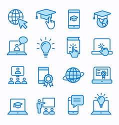 e-learning distance education icons set editable vector image